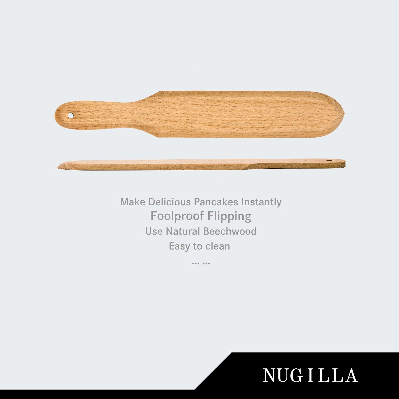 Nugilla Original Crepe Spreader and Spatula Set – 3 Pieces 10-inch Spatula   4.7-inch Spreaders – Premium Beechwood for Crepe Pan Maker/Breakfast Pancakes by Nugilla (Image #2)