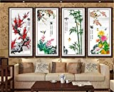 2016 The new 5D diamond drill painting full diamond cube quadruple painting Merlin, bamboo and chrysanthemum stitch diamond paste living room,four-fullofstickers