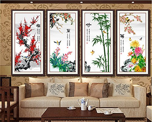 2016 The new 5D diamond drill painting full diamond cube quadruple painting Merlin, bamboo and chrysanthemum stitch diamond paste living room,four-fullofstickers by China palaeowind