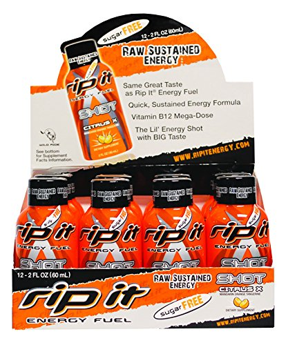 Rip It Sugar Free X Fuel Energy Shot, Citrus, 2 Ounce (Pack of  12)