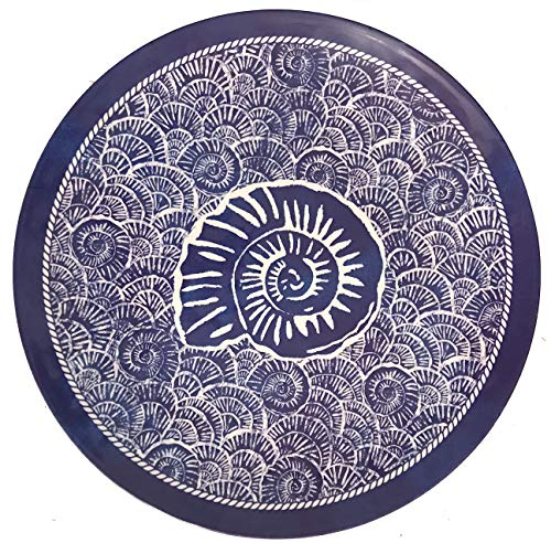 17.5-Inch Sea Life Ocean Themed Pool-Safe Shatterproof Round Melamine Serving Platter (Dark Blue Spiral Shell)