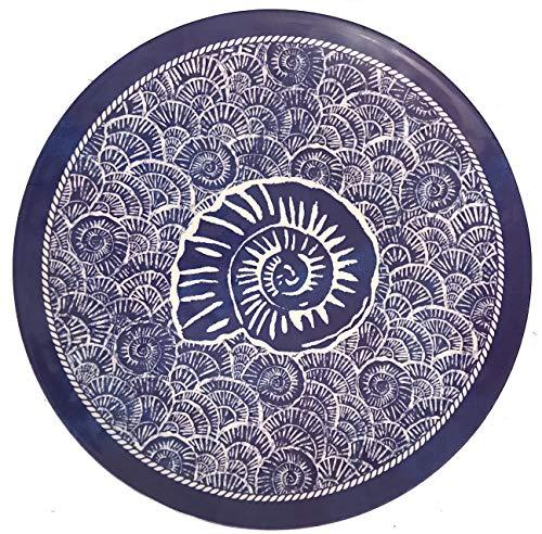 17.5-Inch Sea Life Ocean Themed Pool-Safe Shatterproof Round Melamine Serving Platter (Dark Blue Spiral Shell)