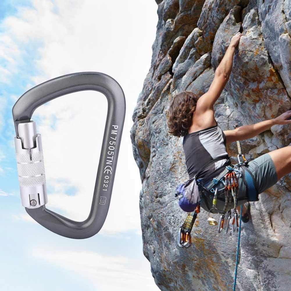 Alomejor Kletterkarabiner Karabinerhaken in D-Form 26KN zum Klettern Abseilen H/ängematten Wandern Camping