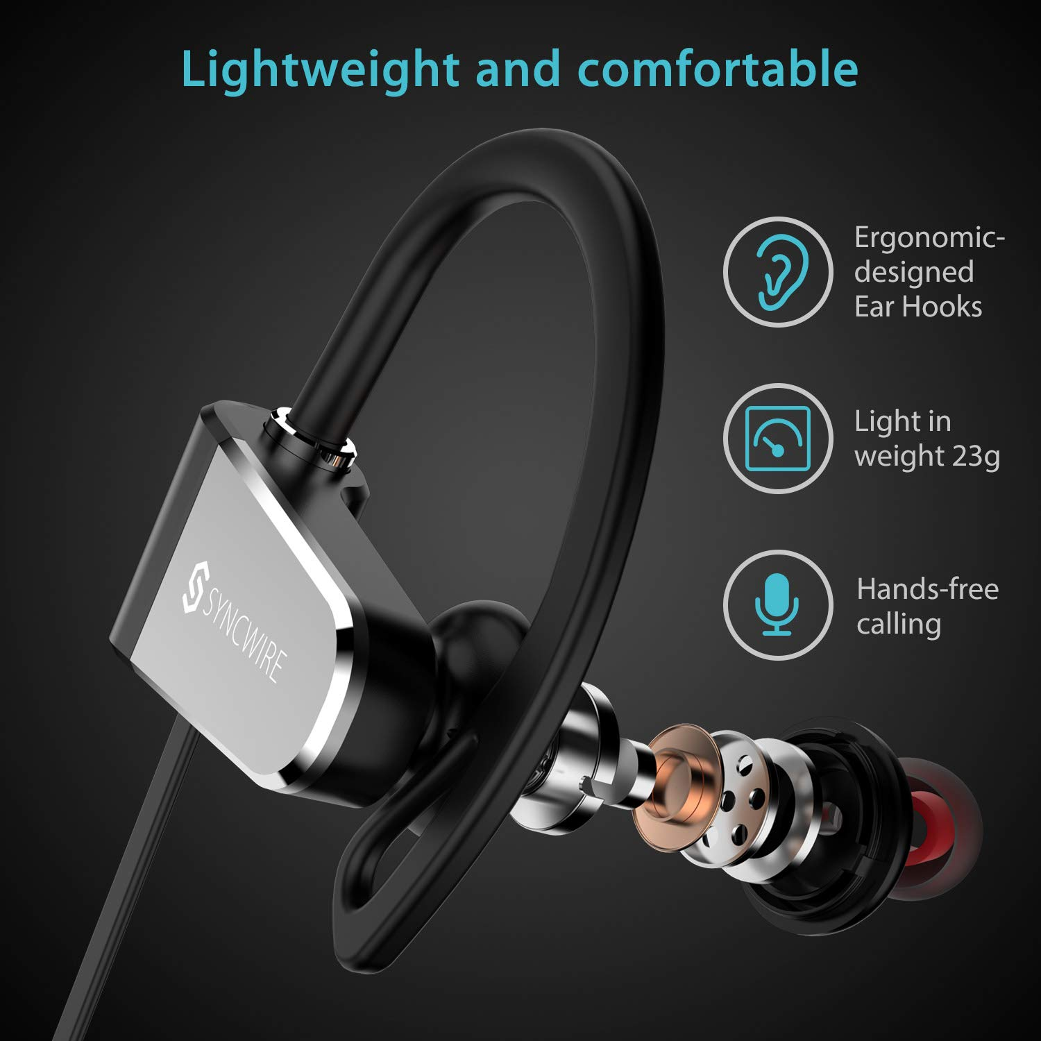 Amazon.com: Bluetooth Headphones Syncwire Wireless Headphones - [9-11 Hrs Playtime] IPX7 Waterproof Sports Earphones with Mic, Lightweight, Noise Cancelling ...