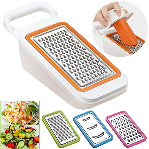 Cooko Mandoline Spiralizer,Vegetable Slicer,Cheese Graters,Fruit Peeler,Multi-functional Kitchen Aid,4 Interchangeable Blades-Grater,Shredder,Julienne,Chopper and an Extra Peeler