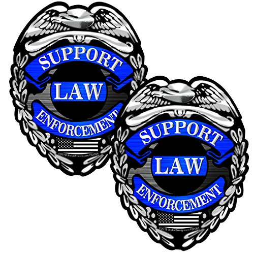 AZ House of Graphics SUPPORT LAW ENFORCEMENT Badge 2 Pack Stickers - #FS2085 Thin Blue Line Bumper Vinyl Decal