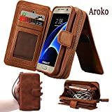Samsung Galaxy S7 edge Dermis Wallet case,Aroko Handmade Genuine Leather Wallet Cover Case Large Capacity Leather Wallet Type Case with zipper wallet Case for Samsung Galaxy S7 edge