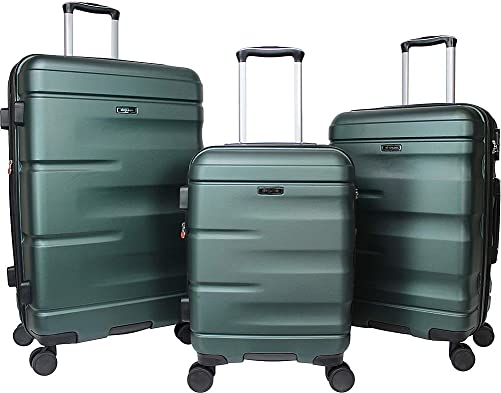 Dejuno Emerson 3-piece Hardside Expandable Spinner Luggage Set-Green, One Size