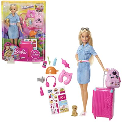Barbie Doll and Travel Set with Puppy, Luggage & 10+ Accessories: Toys & Games