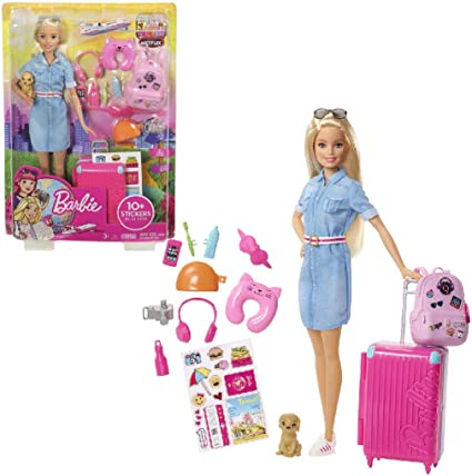 Barbie FWV25 Doll and Travel Set with Puppy Accessories, Luggage and 10