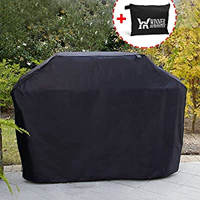 Winner Outfitters Gas Grill Cover, 58-inch 600D Heavy Duty Waterproof BBQ Grill Cover for Weber, Holland, Jenn Air, Brinkmann and Char Broil -Black by Winner