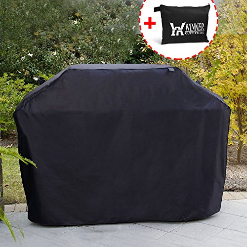 Winner Outfitters Gas Grill Cover, 58-inch 600D Heavy Duty Waterproof BBQ Grill Cover for Weber, Holland, Jenn Air, Brinkmann and Char Broil -Black - Barbeque Gas Grill Cover