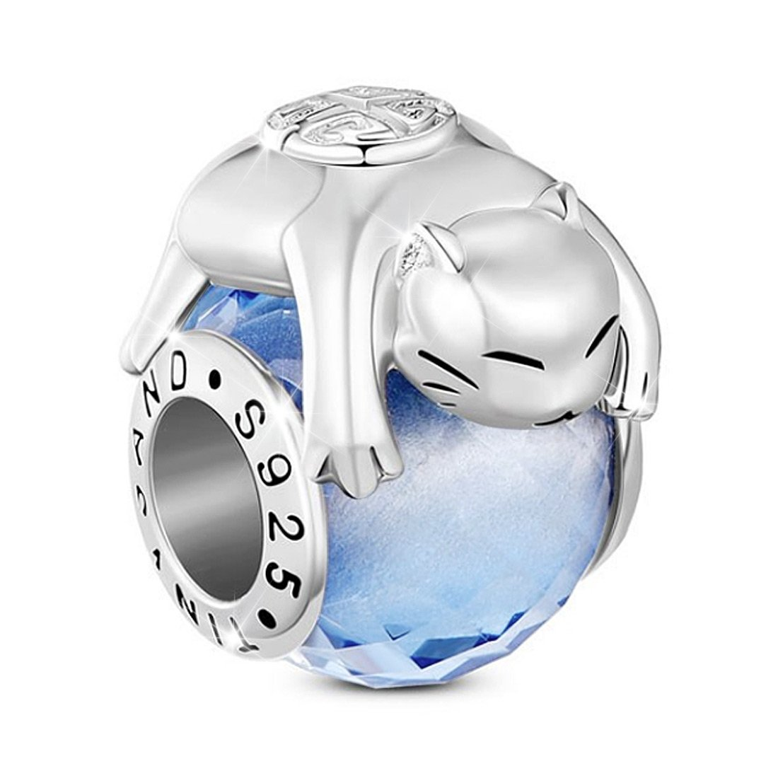 TINYSAND 925 Sterling Silver Lucky Kitty Cat Animal Charms Blue Faceted Murano Glass Bead for European Bracelet Bangle, Valentines Day Gifts
