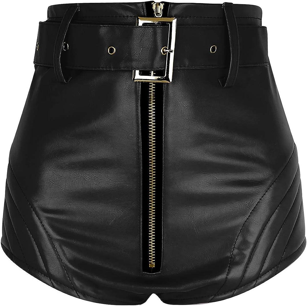 MSemis Pantalones Cortos Sexy Push Up para Mujer Pantalones de Cuero Corte Alto Mini Pantalon Cintura Alta Hot Shorts Dance Traje Pole Cinturón Extraíble