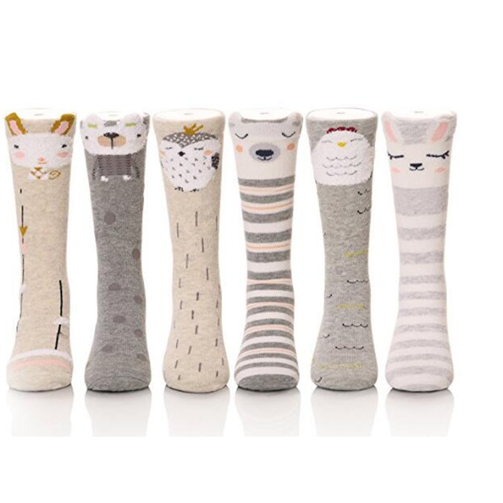 6 Pack Kids Animal Tube Socks Cotton Stocking Socks Knee High Socks 1-8Y Cartoon1 (6 Pack))