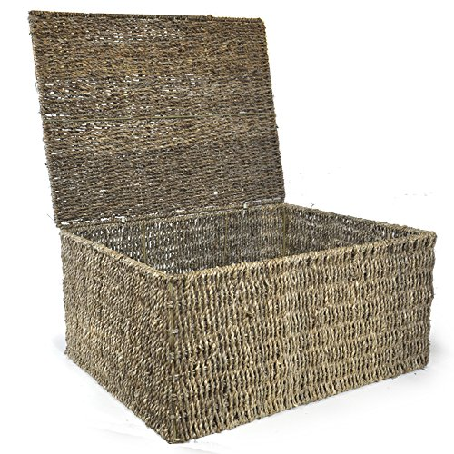 the lucky clover trading classic braided seagrass basket with import it all. Black Bedroom Furniture Sets. Home Design Ideas