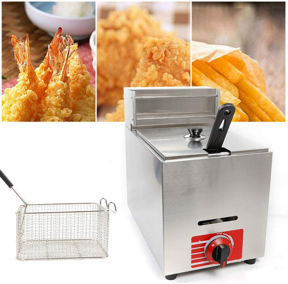 10L Deep Fryer Machine Commercial Countertop Gas Fryer Stainless Steel French Fries Fried Chicken for Restaurant Kitchen