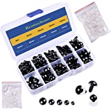150 Pcs 6-12mm Plastic Safety Eyes with Washers for Doll Making (Black)