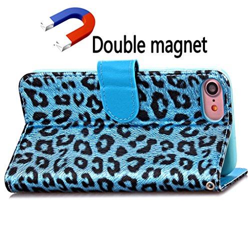 Trumpshop Smartphone Carcasa Funda Protección para Apple iPhone 7 Plus 5.5 (Serie Leopardo) + Púrpura + PU Cuero Caja Protector Billetera con Cierre magnético la Ranura la Tarjeta Choque Absorción Azul