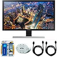 Samsung 28 UHD LED-Lit Monitor (LU28E590DS/ZA) with 2x General Brand HDMI to HDMI Cable 6, Xtreme 6 Outlet Wall Tap w/ 2 USB Ports White & Xtreme Performance TV/LCD Screen Cleaning Kit