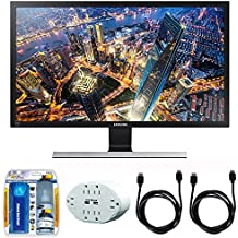 """Samsung 28"""" UHD LED-Lit Monitor (LU28E590DS/ZA) with 2x General Brand HDMI to HDMI Cable 6', Xtreme 6 Outlet Wall Tap w/ 2 USB Ports White & Xtreme Performance TV/LCD Screen Cleaning Kit"""