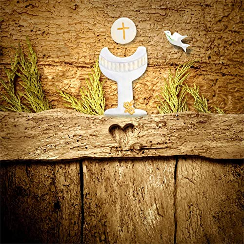 Leowefowa 10x10ft Vinyl Photography Backdrops Girl Boy Baptism Retro Wood Board Wheat Ears Peace Dove God Bless Background First Communion Christening Party Banner Birthday Photo Studio Booth Props