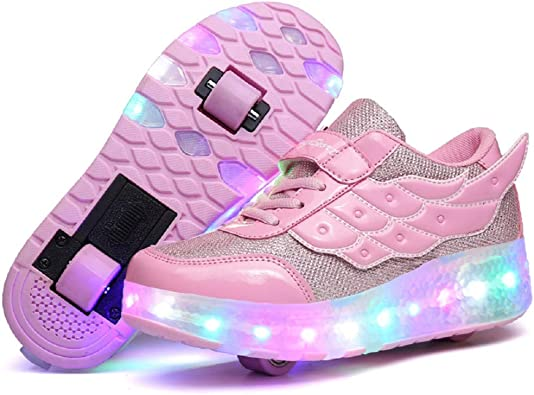 Amazon Com Nsasy Kids Roller Shoes Boy Girl Sneakers With Wheels Become Sport Sneaker With Led For Children Gift Sneakers