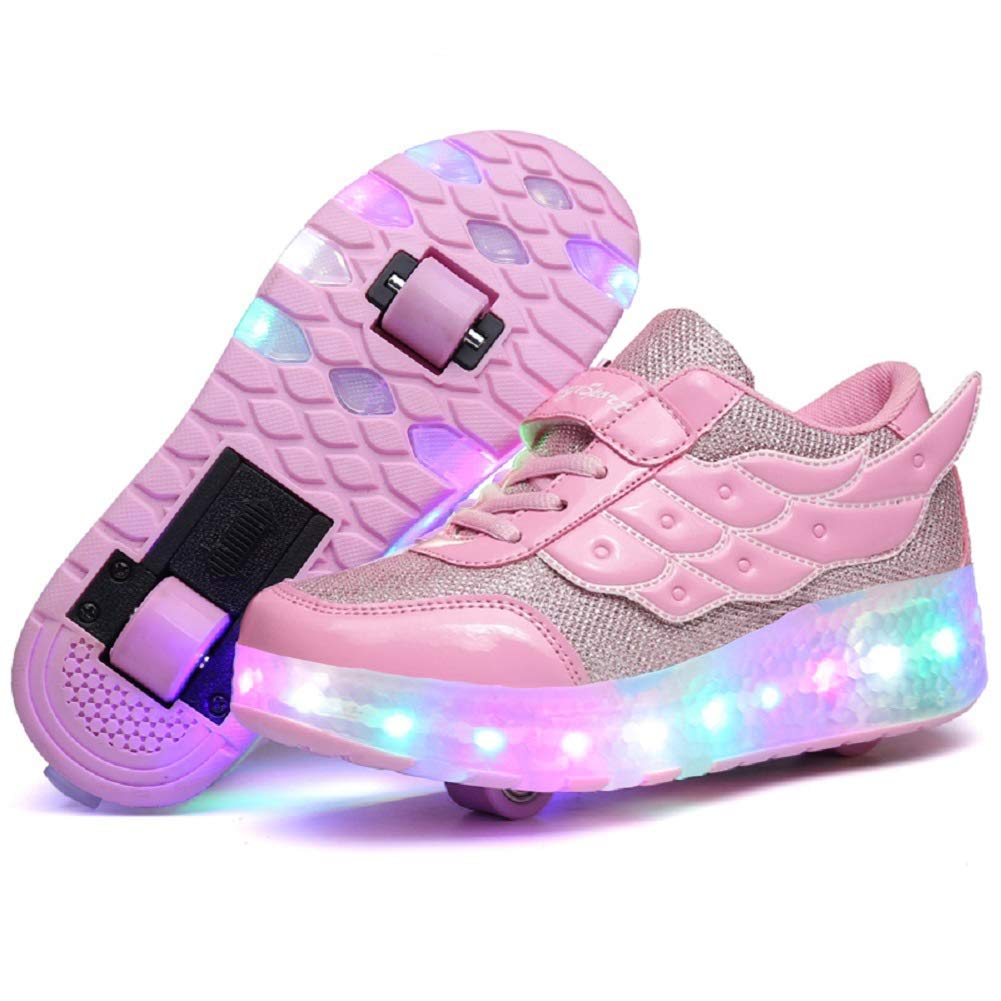 Nsasy Roller Shoes Girls Pink Double Wheels Shoes Become Kids Sport Sneaker with Led Can Charge Size 12 by Nsasy