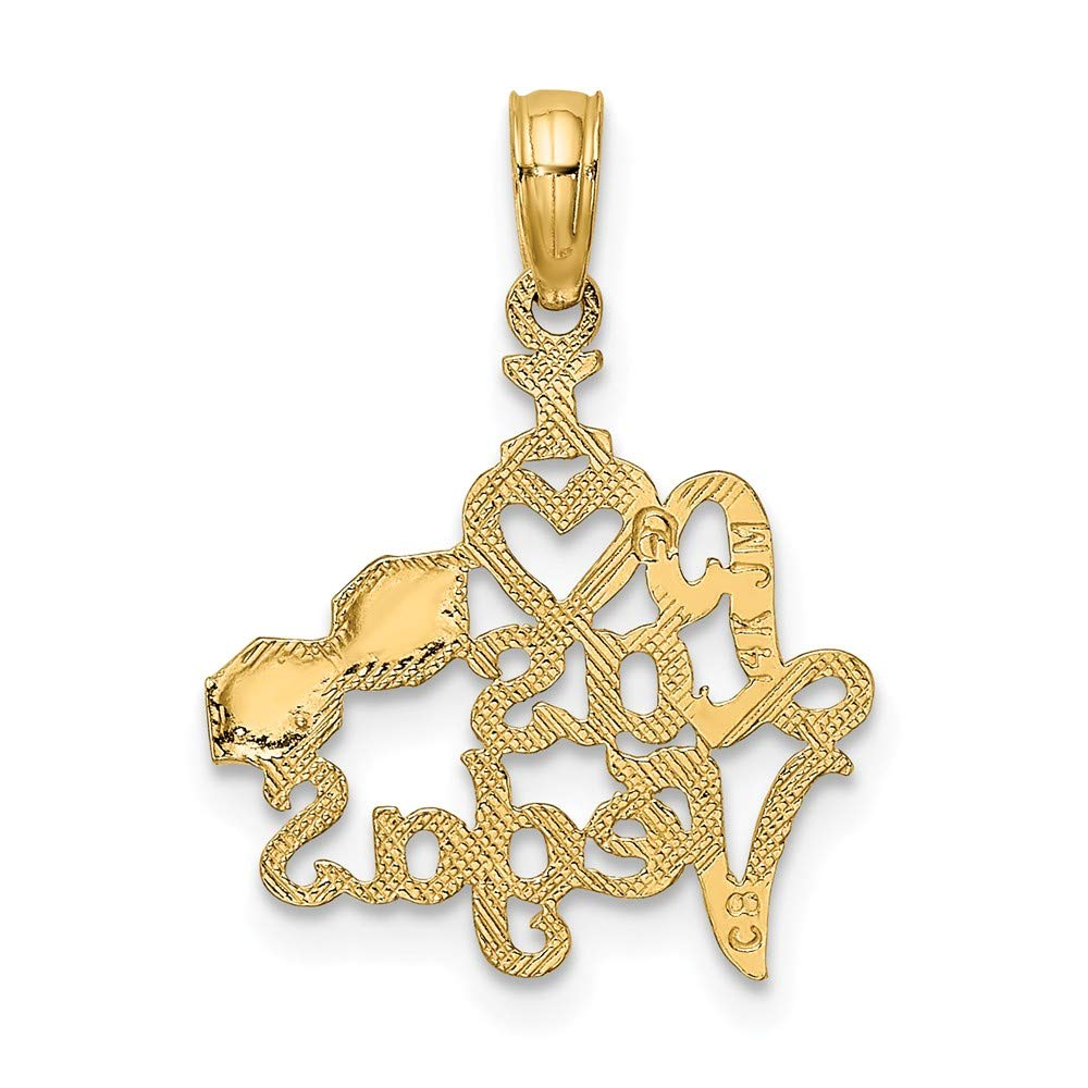 14K Yellow Gold I Heart Las Vegas With Dice Engraved Small Charm Necklace Pendant with 18 Length Chain