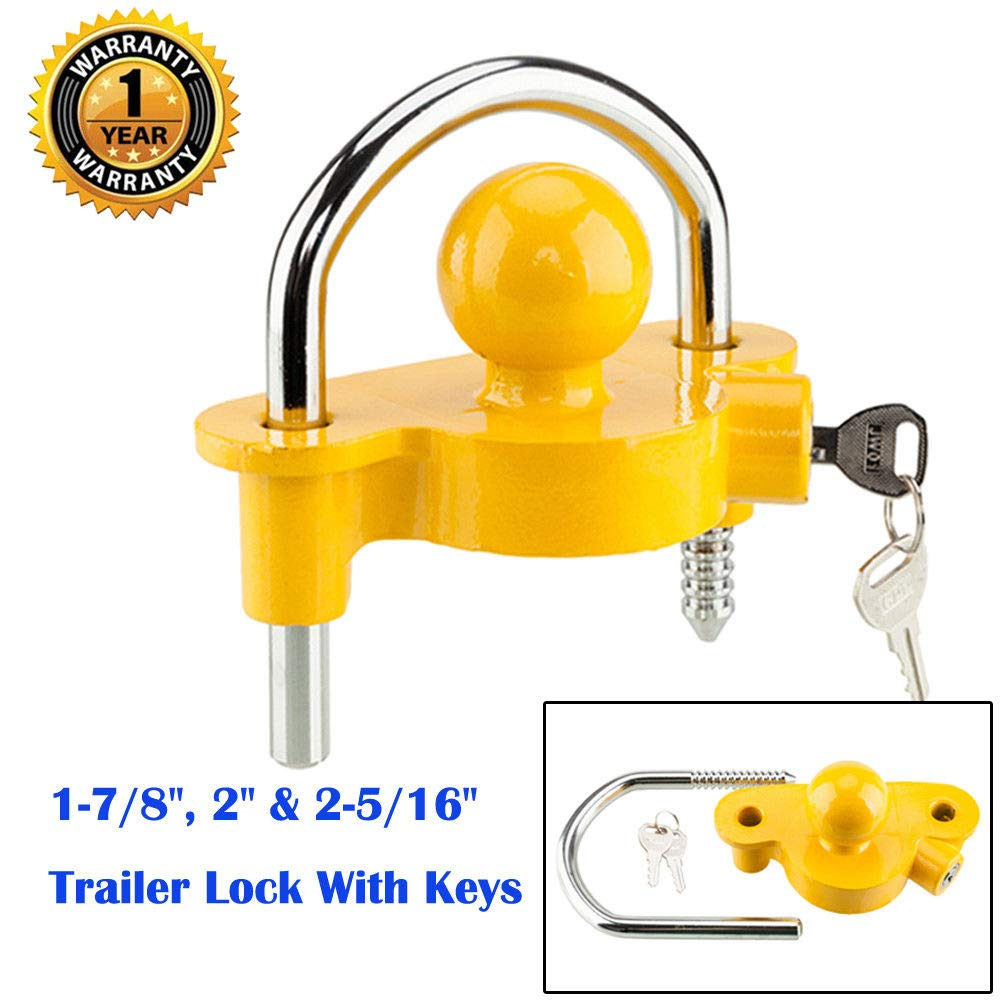 catty shop Lock Keys Ball Trailer Tongue Steel 1-7/8'' 2'' 2-5/16'' Universal Trailer Ball Hitch Couple by catty shop