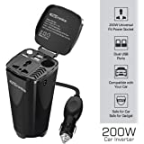 Portronics CarPower One Portable 200W Car Inverter with Single AC 220V Output (POR-003, Black)