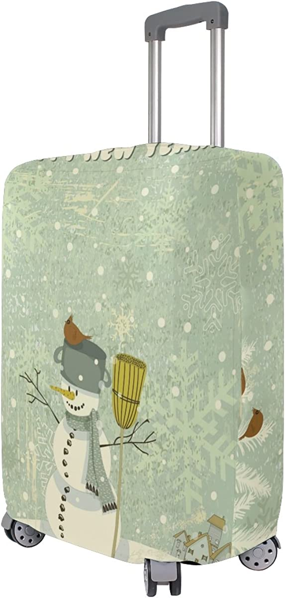 GIOVANIOR Winter Happy New Year Snowman Luggage Cover Suitcase Protector Carry On Covers