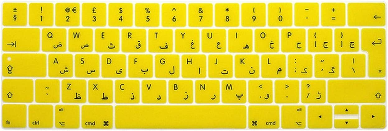 Film Pour Clavier for Mac Pro 13 A1706 15 A1707 2016//2017//2018 Touch Bar UK Euro Version Waterproof Arabic Silicon Keyboard Protective Film Cover-Whiteblue