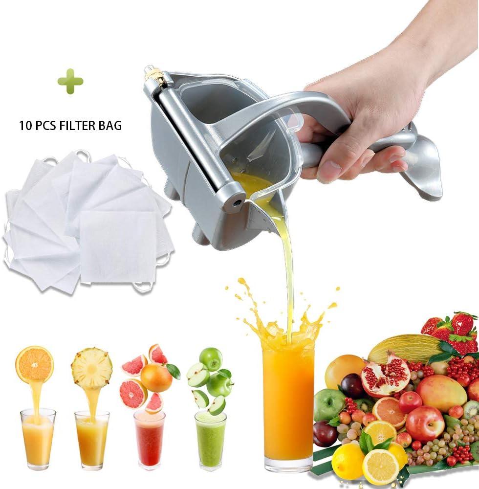Manual Fruit Juicer,Hand Squeezer,Aluminum Alloy Lemon Squeezer, Lemon Orange Hand Juicer,Fruit Press Squeezer Citrus Extractor Tool for Home (Silver)