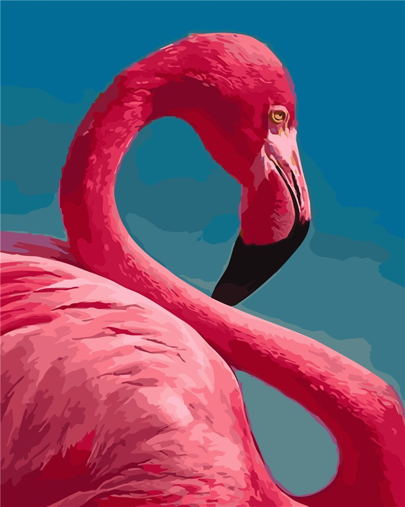 YEESAM ART New DIY Paint by Number Kits for Adults Kids Beginner - Blue sky and Flamingo 16x20 inch Linen Canvas - Stress Less Number Painting Gifts (Without Frame)