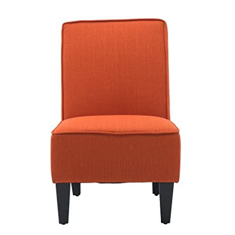 Awesome Cushioned Linen Armless Settee Loveseat Sofa Couch Home Casual Living Room Sleeper One Seat Orange Machost Co Dining Chair Design Ideas Machostcouk