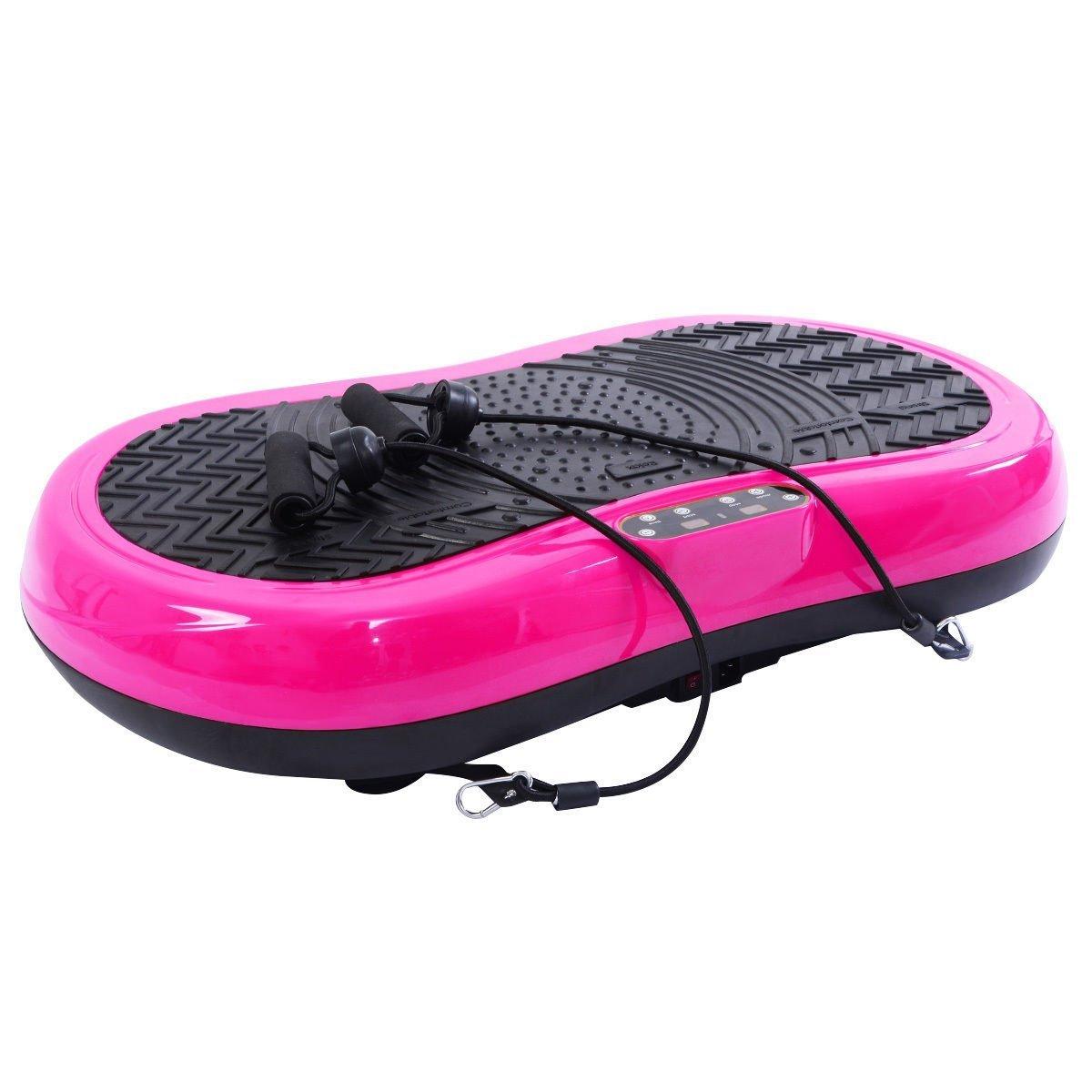 Tangkula Ultrathin Mini Crazy Fit Vibration Platform Massage Machine Fitness Gym (Pink)