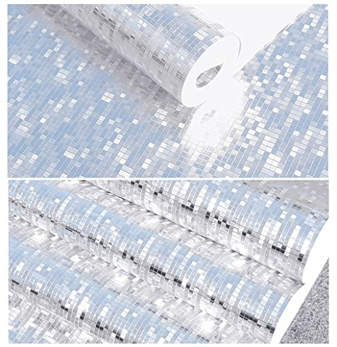 Luxton Modern Silver Foil Mosaic Wallpaper Background Flicker Wall Paper Hotel Club Ceiling Decorative Wallpaper Roll (Unpasted) 20.8 inch x 32.8 Feet, Silver Color, 1 Roll (Background Pack)
