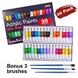 neon acrylic paint - Acrylic Paint Set, Shuttle Art 30 x12ml Tubes Artist Quality Non Toxic Rich Pigments Colors Great For Kids Adults Professional Painting on Canvas Wood Clay Fabric Ceramic Crafts