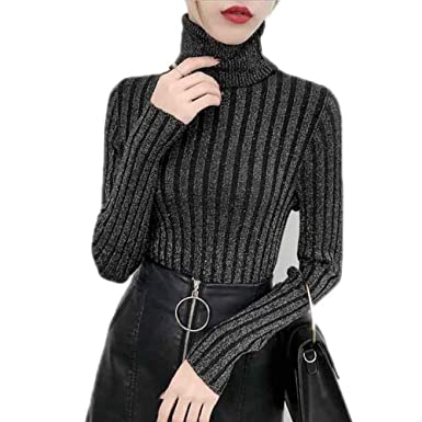 BCVHGD Shiny Lurex Turtleneck Sweater Pullover Knitted Winter Cashmere  Sweaters Womens Jumpers Basic Tops Black Black ba04bb041