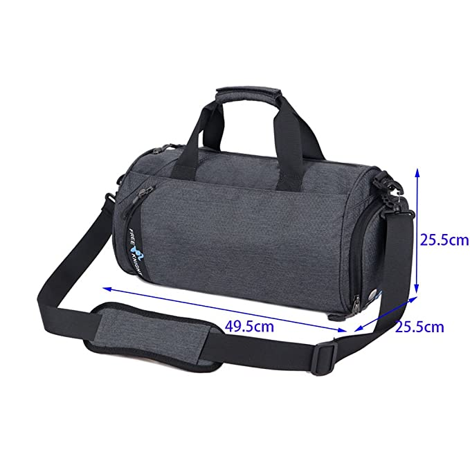 087862f07935 Asiki Waterproof Nylon Gym Bag Round Sports Duffel Bag with Shoe  Compartment Travel Sports Bag (Dark grey(Large))  Amazon.co.uk  Sports    Outdoors