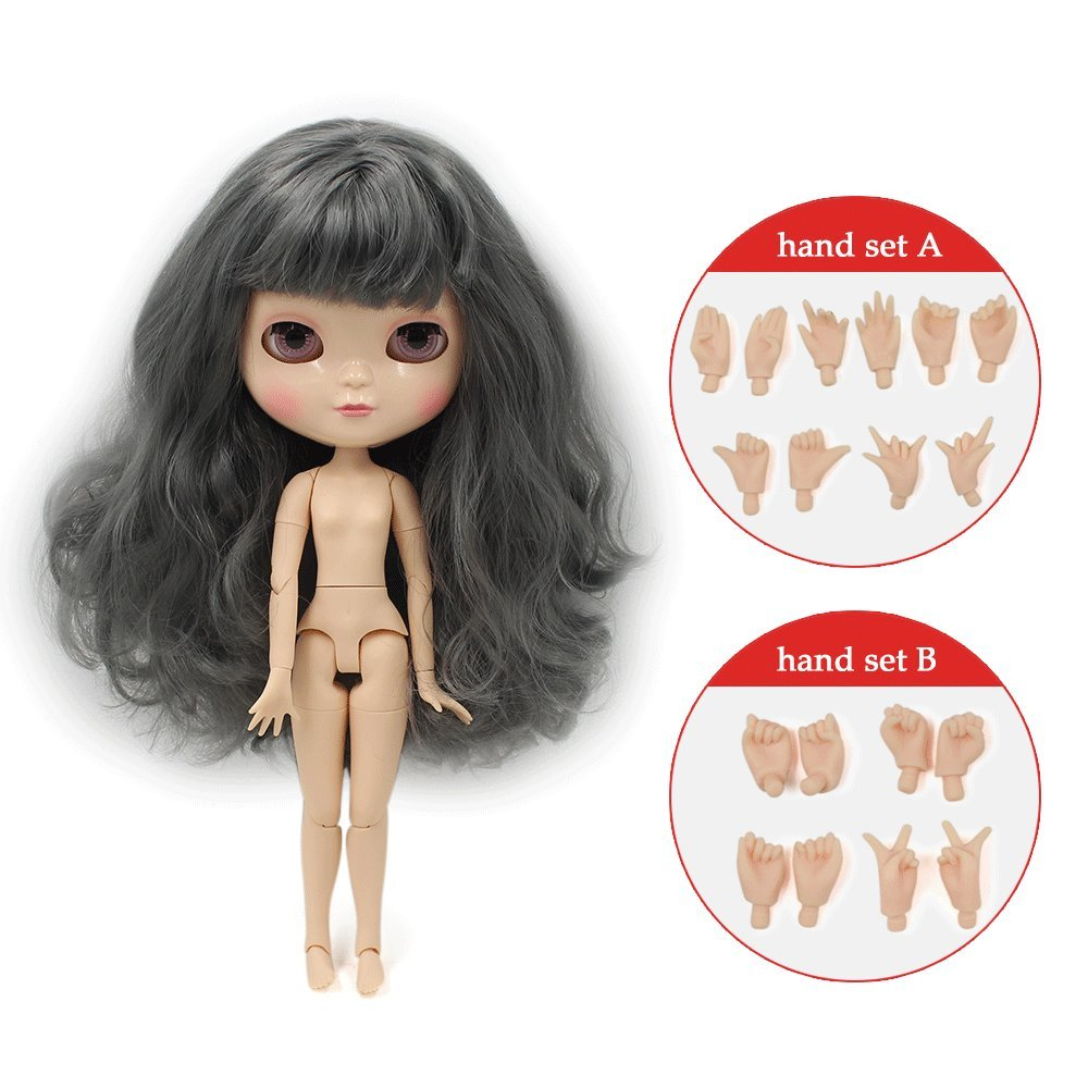 COLORFUL2 The 30.5cm ICY Nude Doll is The Same as Blythe Doll,can Change The faceplate and Clothes for DIY Maker,19 Joint Body Doll is Suitable for Girls Present and Best Gift.