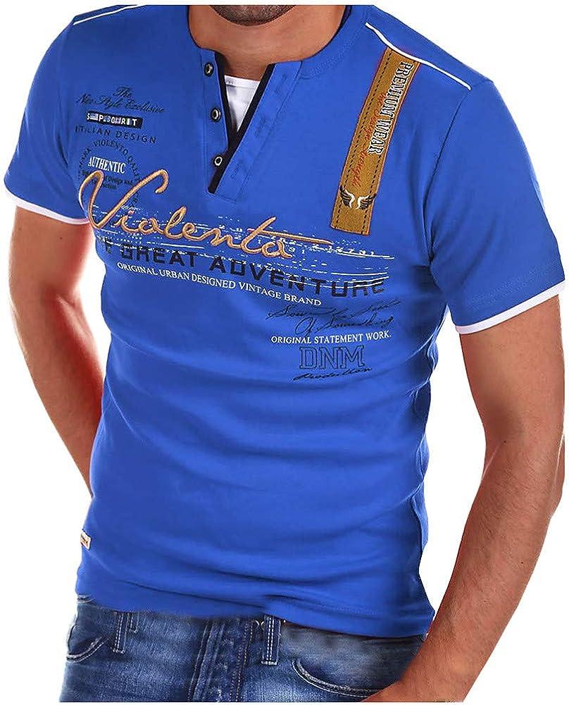 LANSKIRT Camisetas de Manga Corta Basicas Camisa Tallas Grande de Otoño con Estampadas Blusas de Letras Escote V Ropa de Hombres Casuals S-XXXL: Amazon.es: Ropa y accesorios