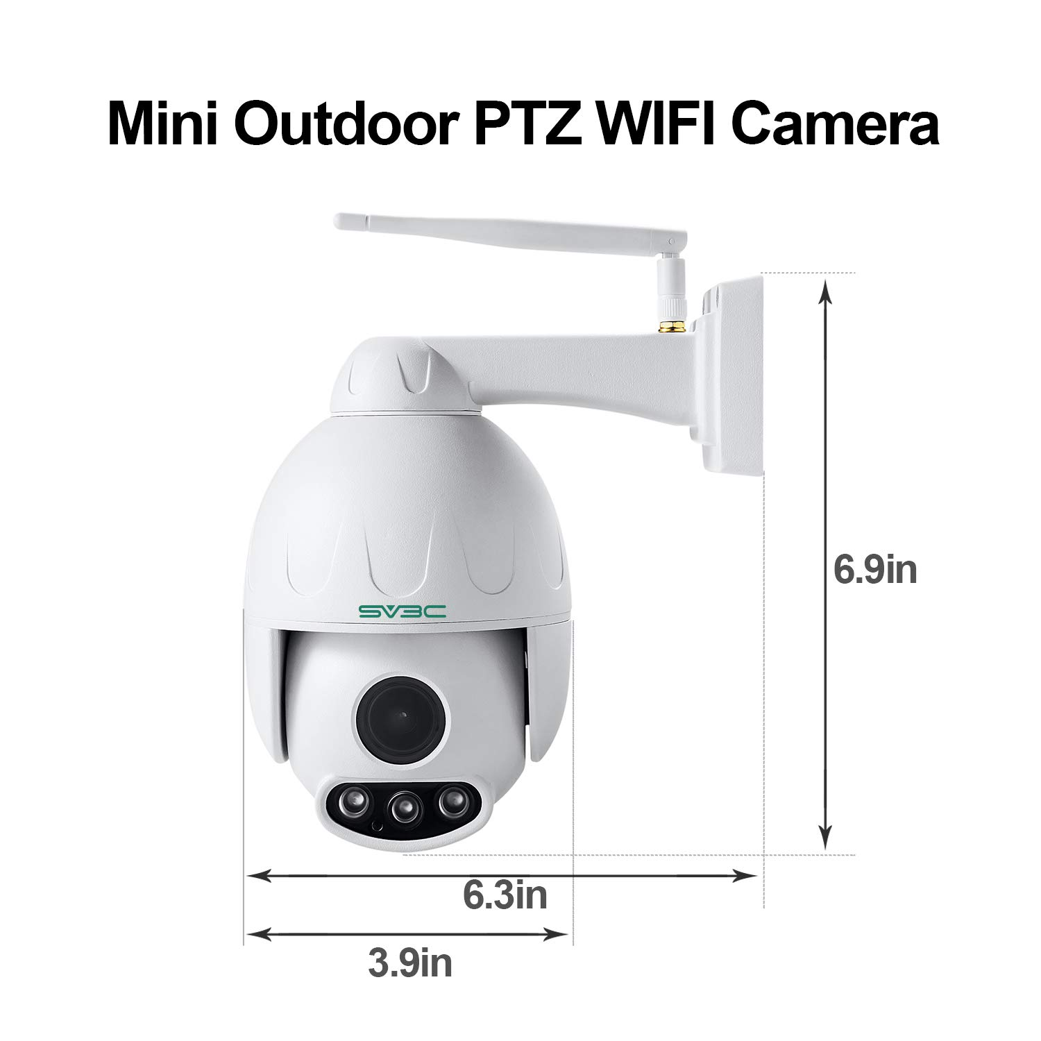 SV3C 1080P Outdoor PTZ WiFi Security Camera,Pan Tilt Zoom (5X Optical Zoom)  Wireless Surveillance CCTV IP Camera with Two Way Audio,IP66