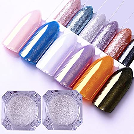 BORN PRETTY Nail Art Pearl Powder Mermaid Diamond Pigment Silver Gold Mirror Shining Dust Glitter for Manicure Makeup 2 Boxes