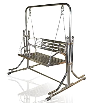 kaushalendra Swing Stainless Steel 2 inch Heavy Pipe Indoor Swings with Stand Both Side usable