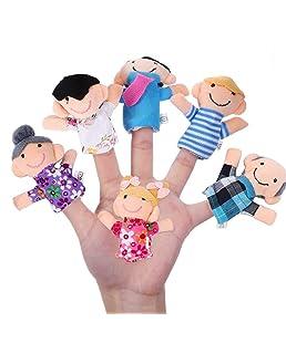 Newin Star Marionnette du Doigt, marionnettes de Doigt, marionnettes de Main Conception de Famille Souriant Jouet Marionnette pour Enfant (6Pcs)
