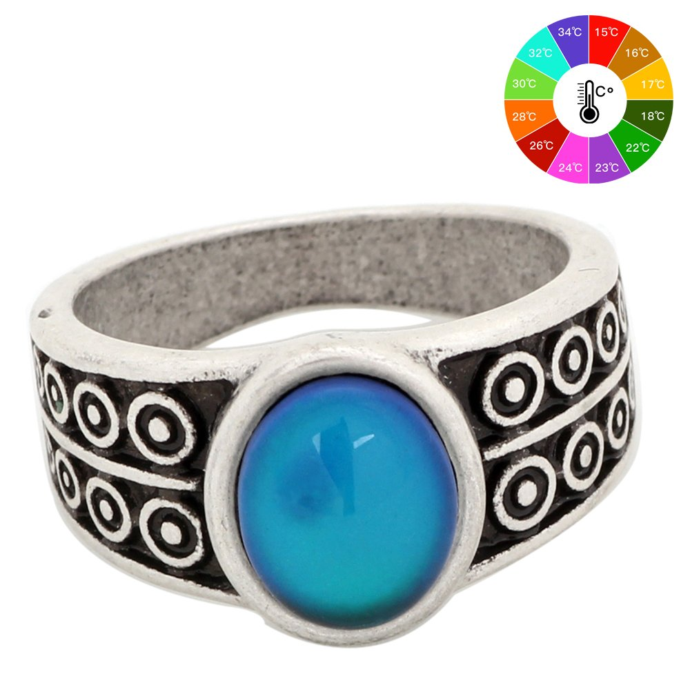 Handmade Zinc Alloy Mood Ring Antique Sterling Silver Plated Oval Shape Temperature Sensing Color Changing Stone Finger Big Rings for Women Fashion RS007 MOJO MJ-RS007
