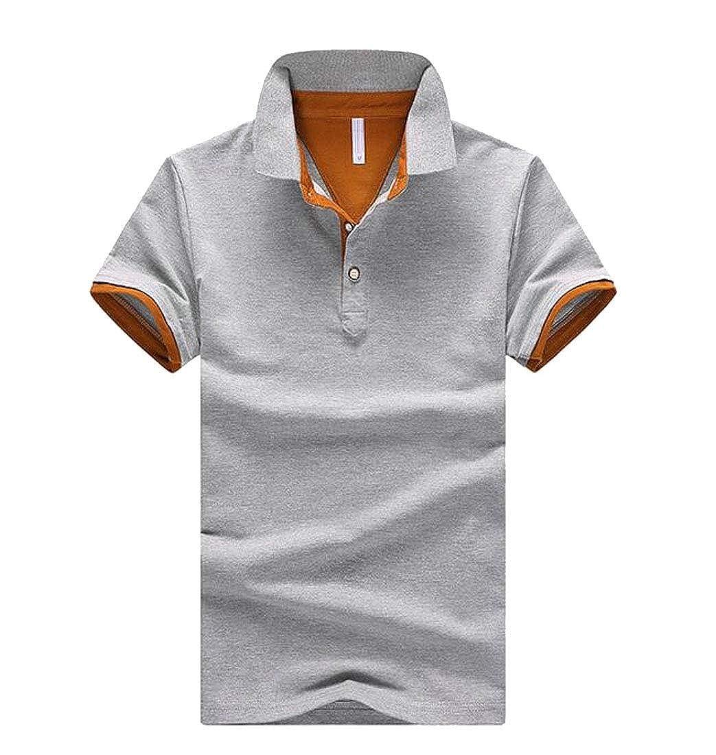 Wopop Men Short Sleeve Workwear Summer Polos Spell Color Lapel Tops T-Shirt