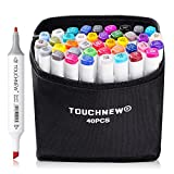TouchNew 40 Colors Double-Ended Art Markers with Fine and Broad Tip, Perfect for Illustration, Sketch Comics, Cartooning, Anime(Product Design Selection)-Lightwish (40 Colors, White)